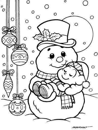 Criancas Com Boneco De Neve Desenhos Para Colorir