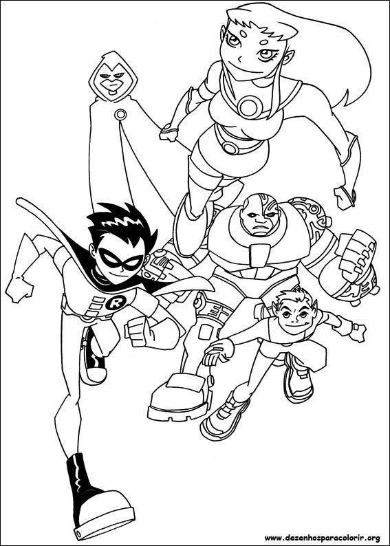 os jovens titans desenhos para colorir