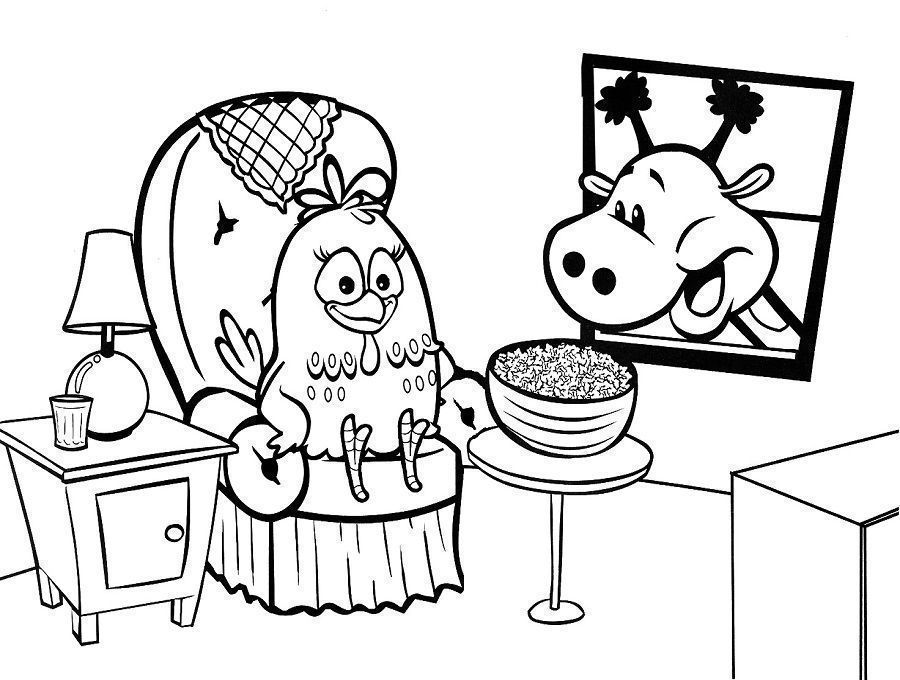 Galinha Pintadinha Assistindo Tv Desenhos Para Colorir