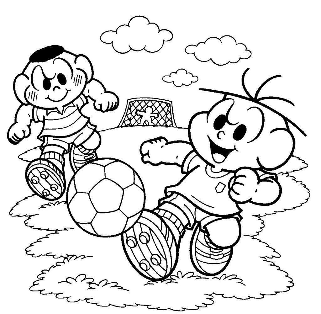 cascão e cebolinha jogando bola desenhos para colorir