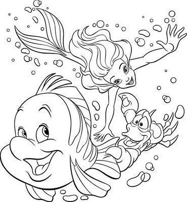 Princesa Ariel E Amigos Desenhos Para Colorir