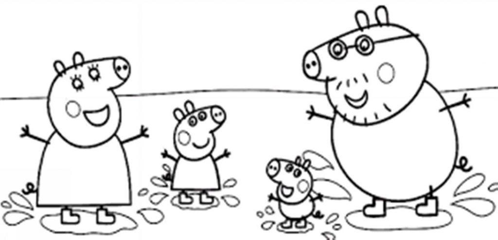 A Família Pig Desenhos Para Colorir
