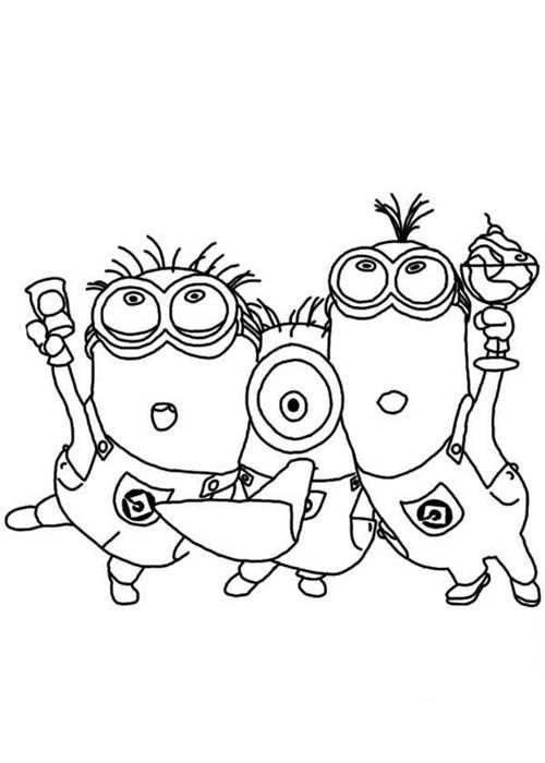 Os Minions Amigos Desenhos Para Colorir