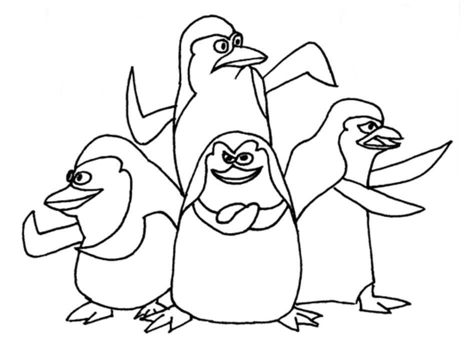 Os Pinguins De Madagascar Desenhos Para Colorir