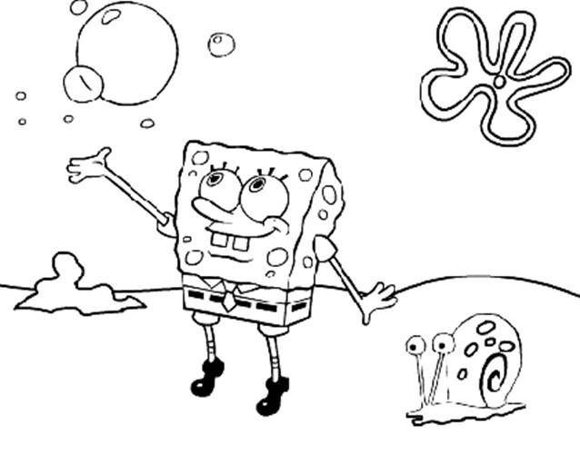 Bob Esponja E Gary Desenhos Para Colorir