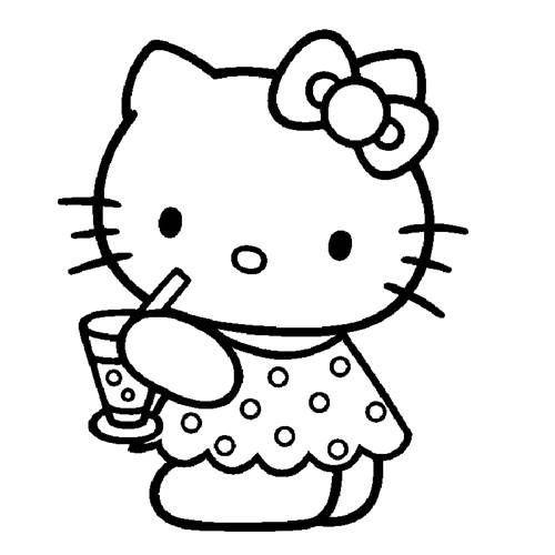 Hello Kitty Tomando Suco Desenhos Para Colorir