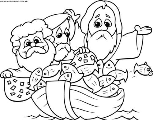 Jesus No Barquinho Desenhos Para Colorir