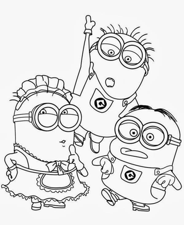 Trio De Minions Desenhos Para Colorir