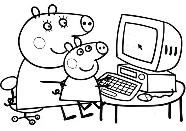 Peppa Usando Computador