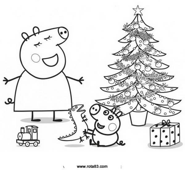 Peppa No Natal Desenhos Para Colorir