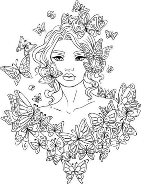 Mulher Com Borboletas Pelo Corpo Desenhos Para Colorir