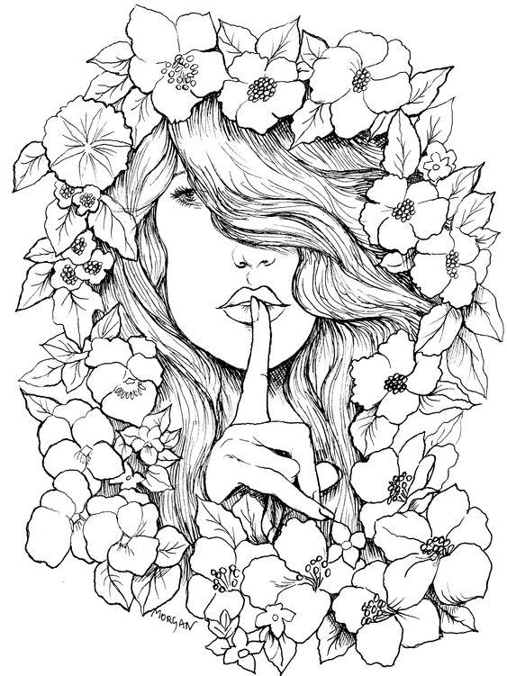 Desenho De Mulher Com Flores Para Pintar Desenhos Para Colorir