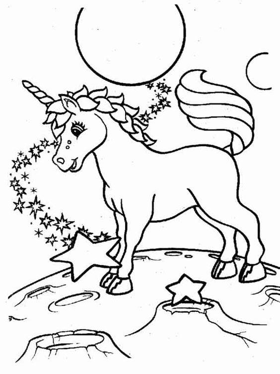 Unicornio Na Lua Estrelada Desenhos Para Colorir