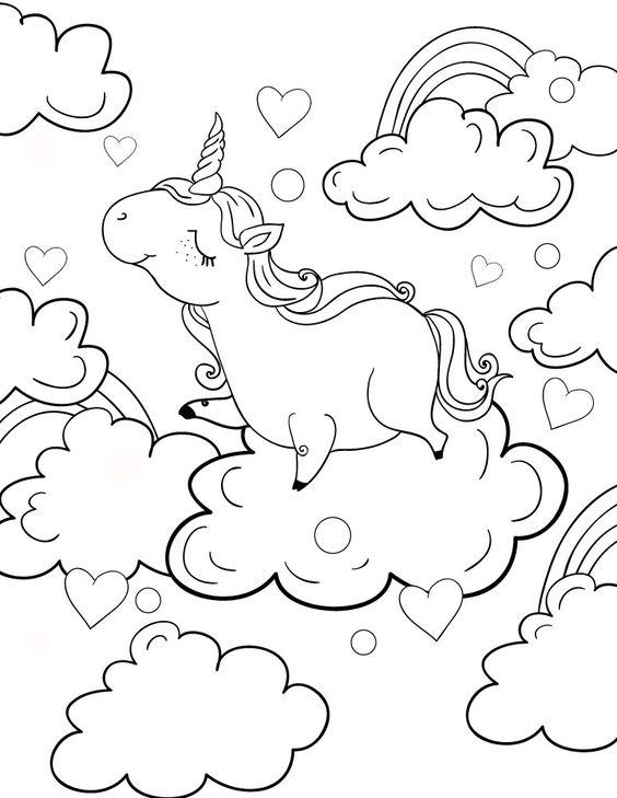 Desenho De Unicornio Nas Nuvens Desenhos Para Colorir