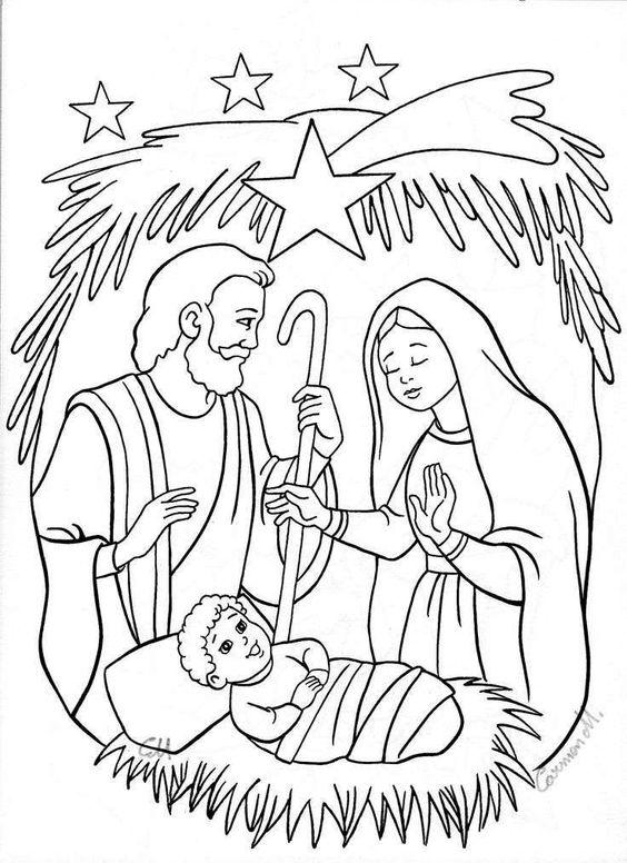 Nascimento De Jesus Enfeitado Com Estrelas Desenhos Para Colorir