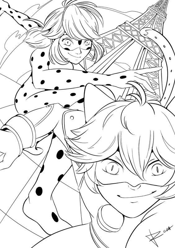 Desenho Da Ladybug E Cat Noir Na Torre Eiffel Desenhos Para Colorir