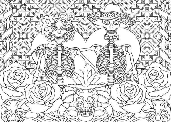 Caveiras Mexicanas Com Mosaico Desenhos Para Colorir