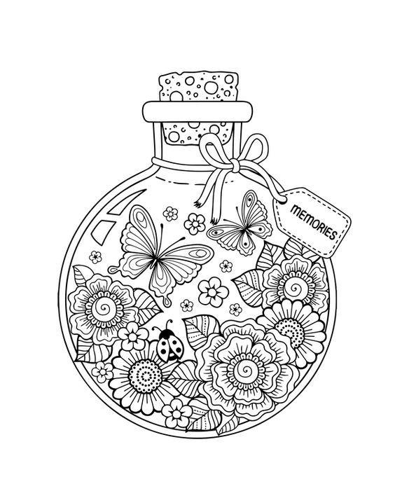 Borboletas E Flores No Pote Desenhos Para Colorir