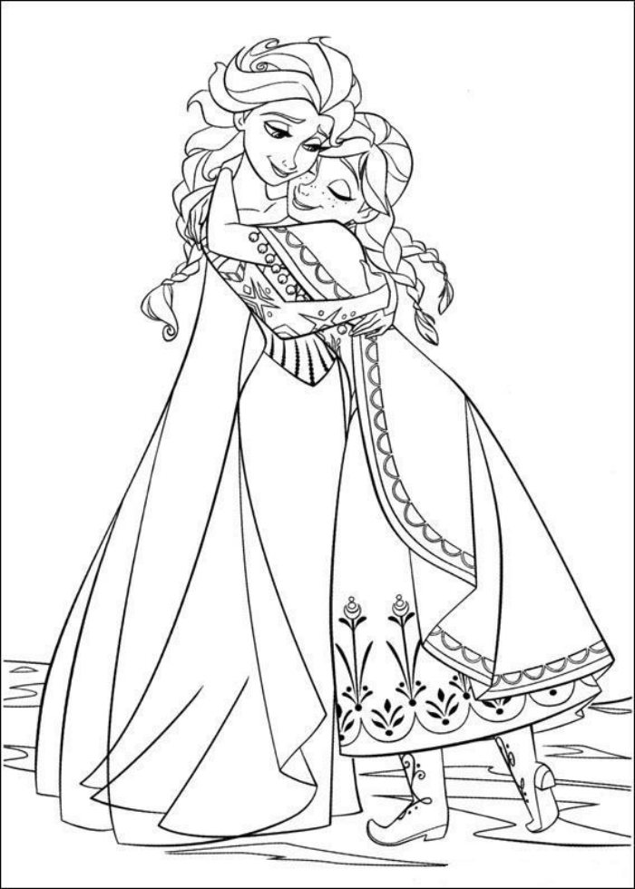 Elsa E Ana Dando Um Abraco Desenhos Para Colorir