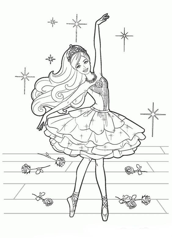 Barbie Bailarina Dançando Desenhos Para Colorir