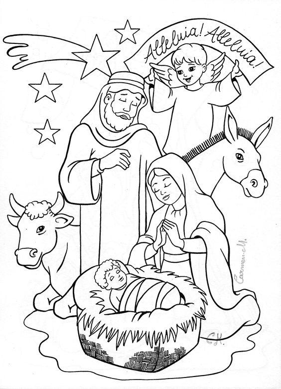 Menino Jesus Na Manjedoura Com Anjinho Desenhos Para Colorir