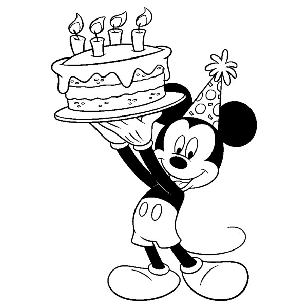 Mickey Com Bolo De Aniversário Desenhos Para Colorir