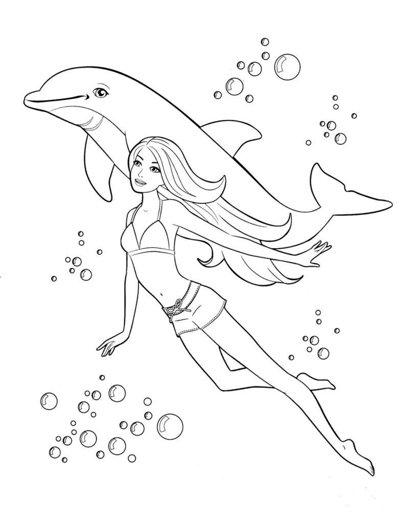Barbie Nadando Com Golfinho Desenhos Para Colorir
