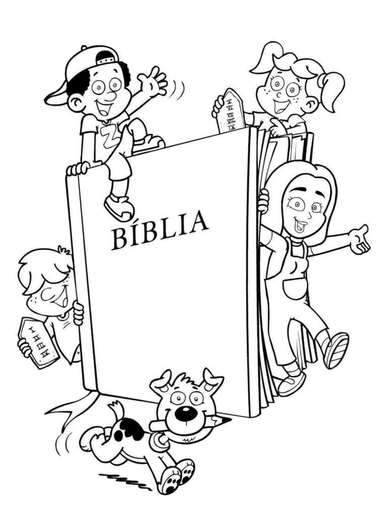 Criancas Com A Biblia Desenhos Para Colorir