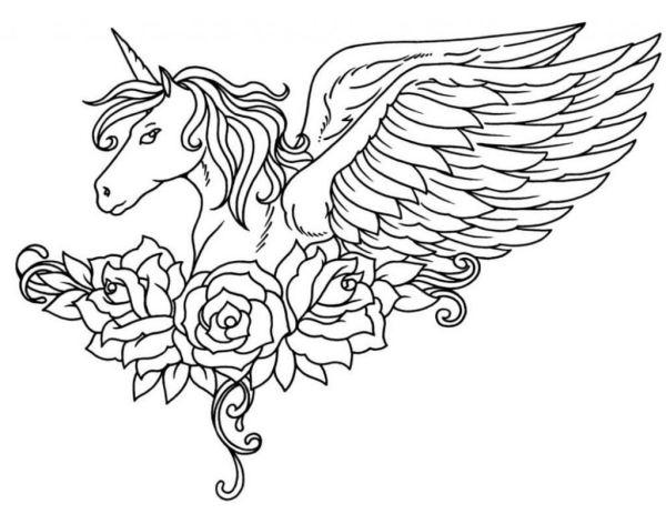 Unicornio Com Rosas Desenhos Para Colorir
