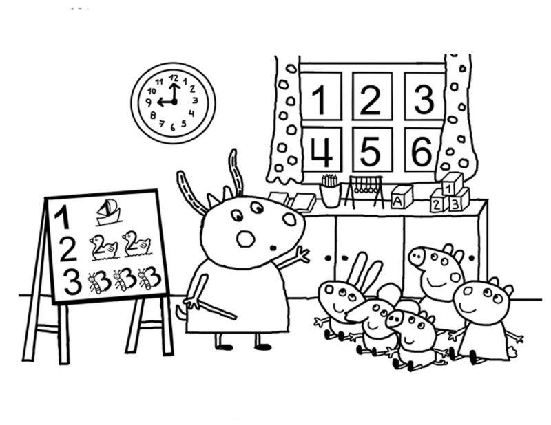Peppa Pig Na Aula Desenhos Para Colorir