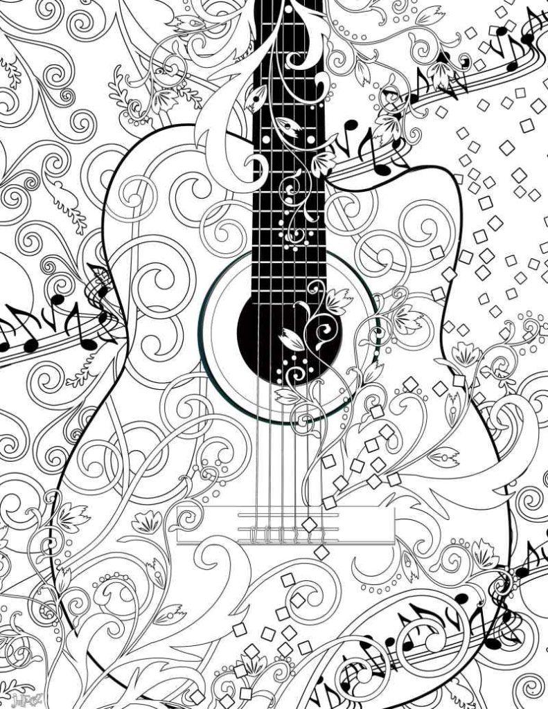 Violao Decorado Com Notas Musicais Desenhos Para Colorir