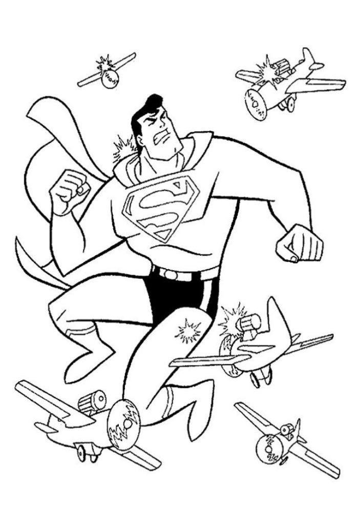 Super Herois Super Homem Contra Os Avioes Desenhos Para Colorir