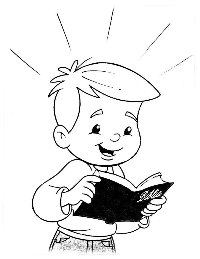 Menino Lendo A Biblia Desenhos Para Colorir