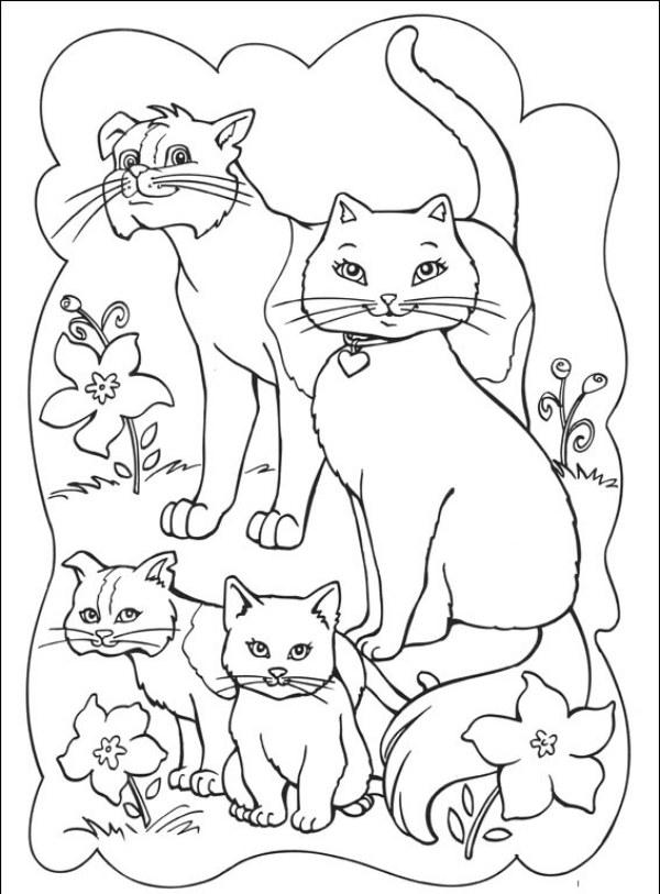 Familia De Gatos Da Barbie Desenhos Para Colorir
