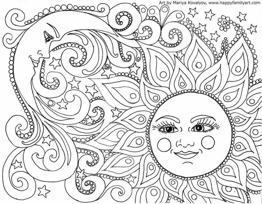Sol E Lua Adulto Para Colorir Desenhos Para Colorir