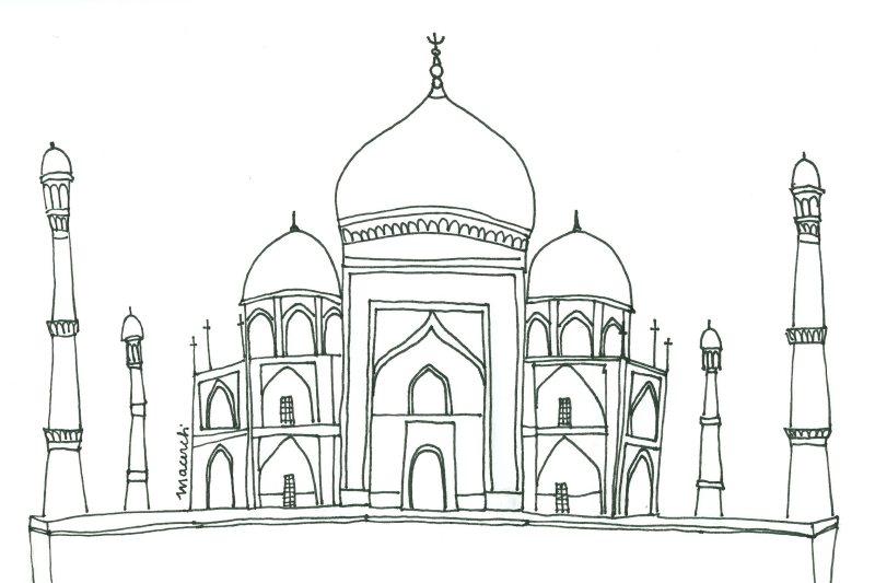 Desenho Adulto Do Taj Mahal Desenhos Para Colorir