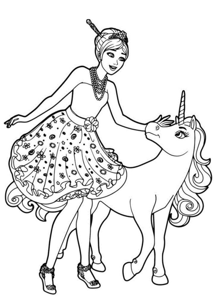 Barbie Com Unicórnio Mágico Desenhos Para Colorir