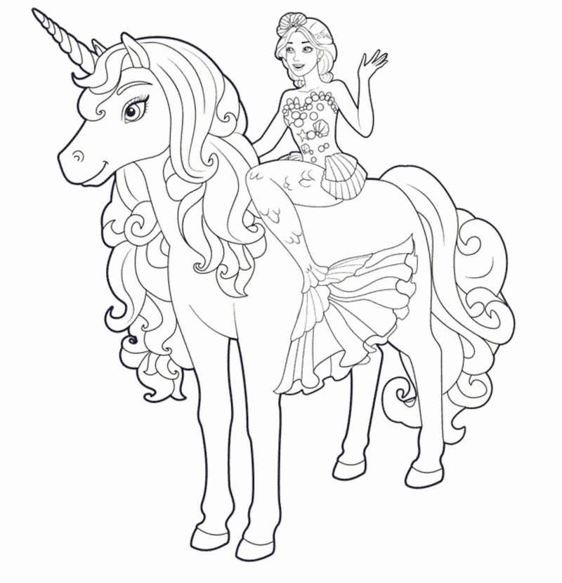 Sereia Com Seu Unicornio Desenhos Para Colorir