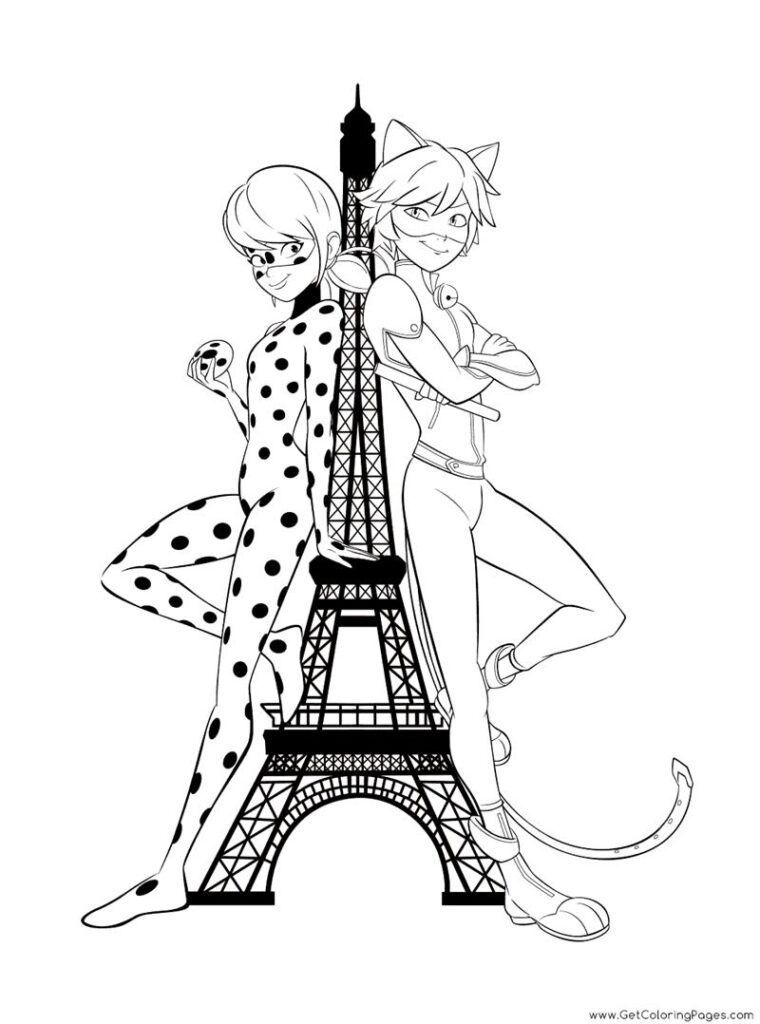 Ladybug E Cat Noir Na Torre Eiffel Desenhos Para Colorir