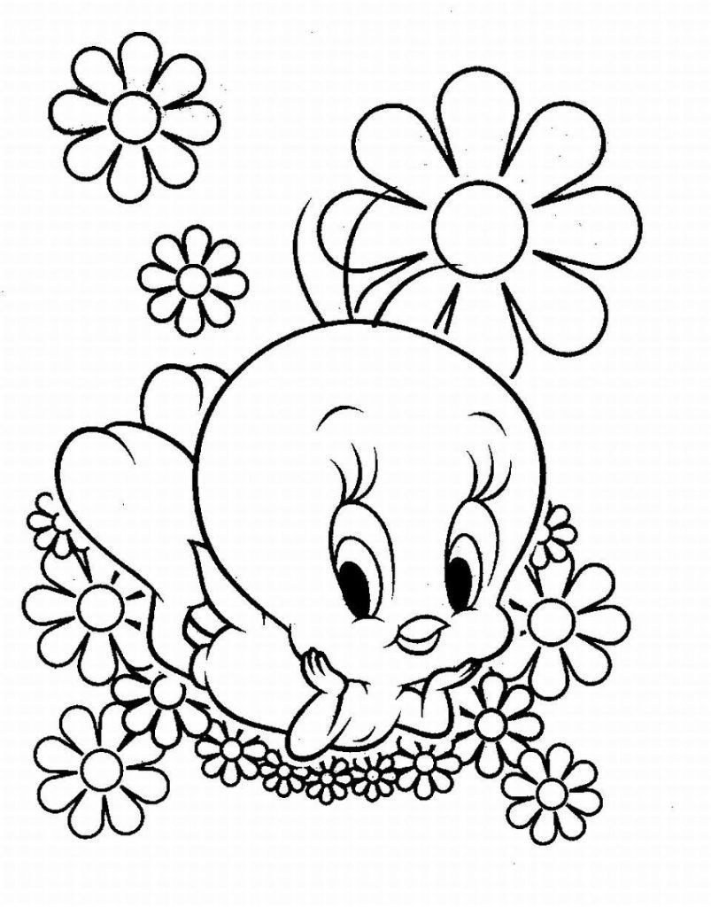 Piu Piu Deitado Nas Flores Desenhos Para Colorir