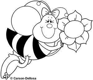 abelha e flor desenhos para colorir