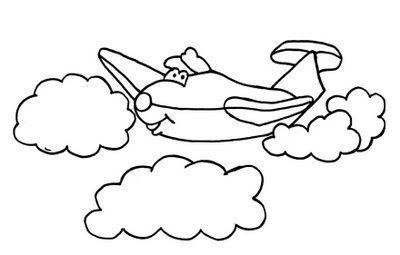 avião e nuvens desenhos para colorir