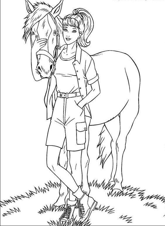 Barbie E Seu Cavalo Desenhos Para Colorir