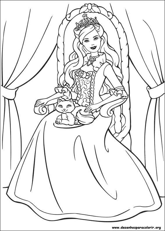 Barbie Princesa Gatinho Desenhos Para Colorir