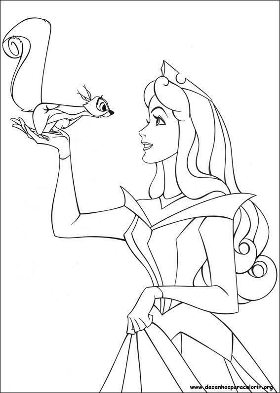 Bela adormecida com esquilo desenhos para colorir - La belle au bois dormant coloriage ...
