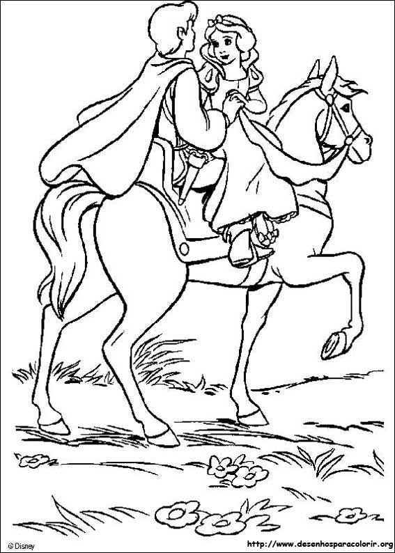 Branca De Neve No Cavalo Com Seu Principe Desenhos Para Colorir