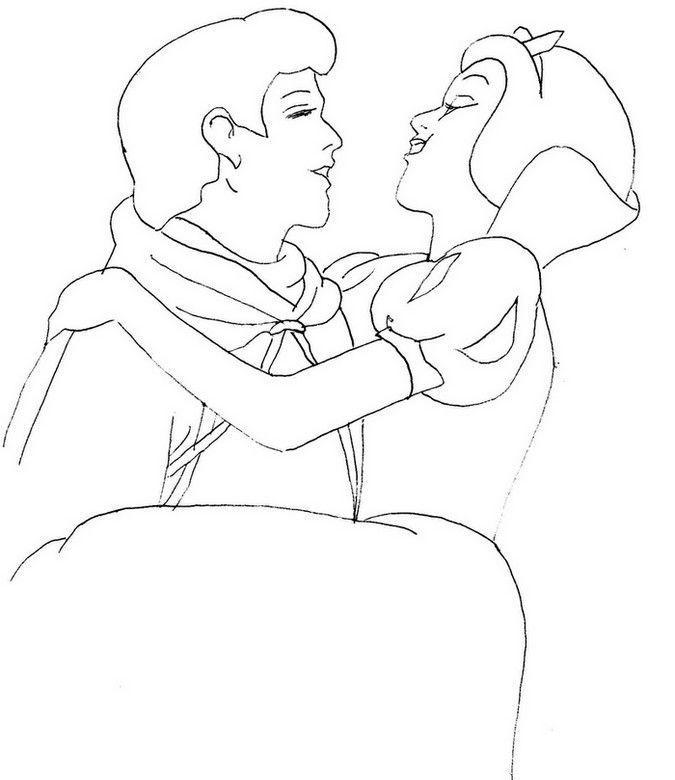 Preferência Branca de neve no colo do príncipe – Desenhos para Colorir WC68