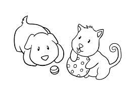 cachorro e gato brincando desenhos para colorir