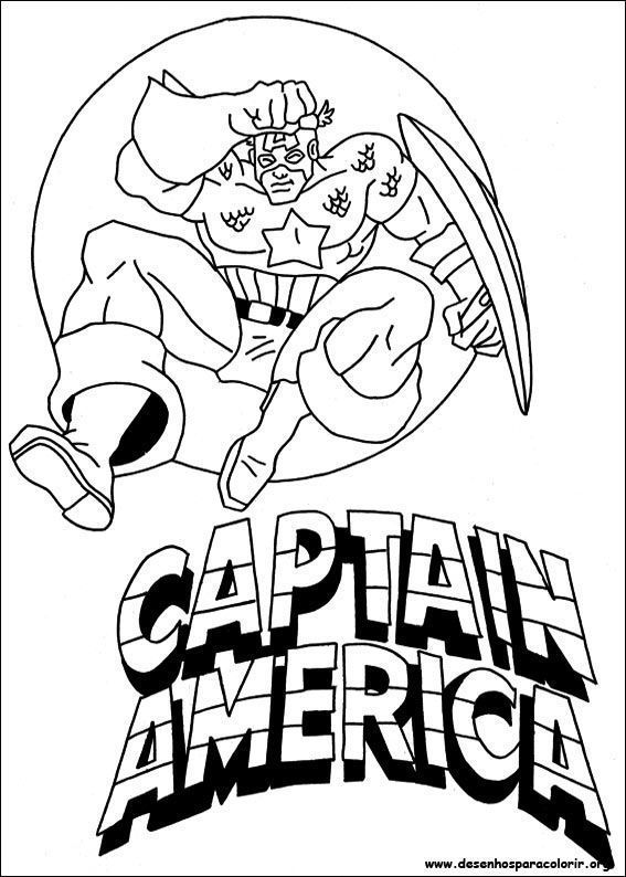 Capitao America Em Combate Desenhos Para Colorir