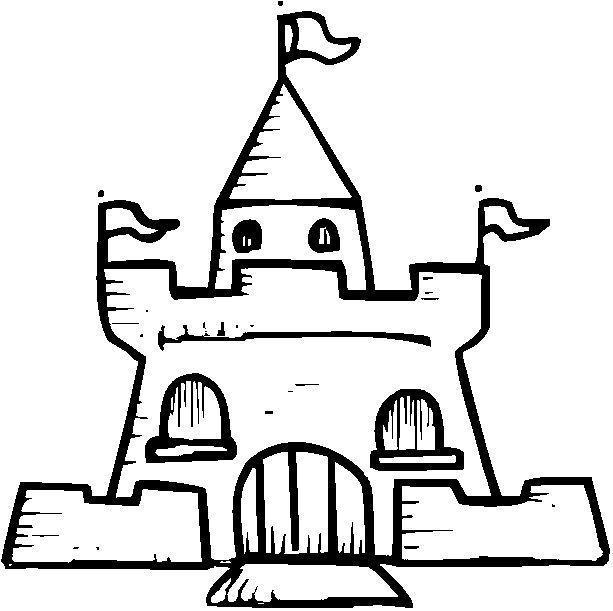 castelo com bandeiras desenhos para colorir